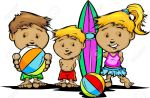 15750050-Los-ni-os-de-dibujos-animados-con-trajes-de-ba-o-y-piscina-o-ilustraci-n-Juguetes-de-playa-Foto-de-archivo